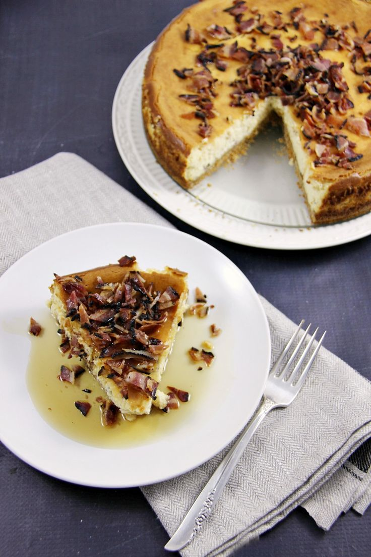 Maple Bacon Cheesecake - the ultimate in sweet and savoury. A truly delicious cheesecake that will have your family/dinner guests in awe of the flavour combination. Bacon really does go with everything!
