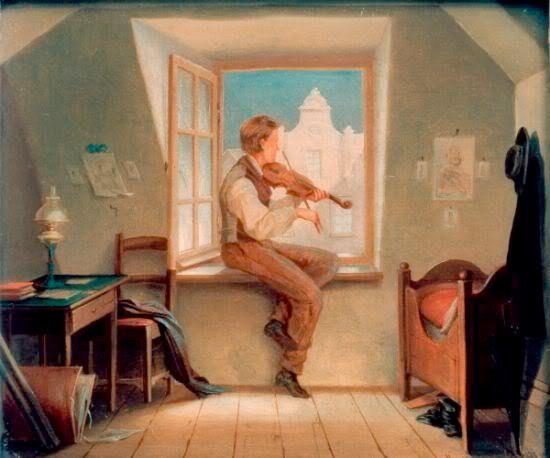Violinist at the window - Moritz Von Schwind