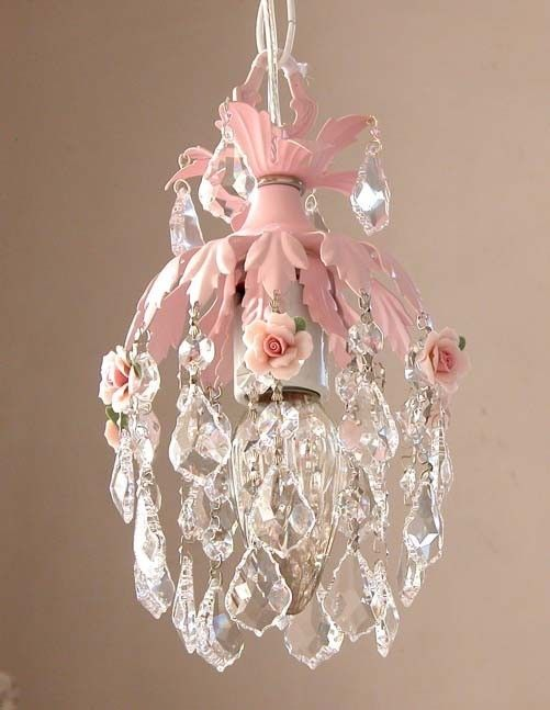 133 best miniature chandeliers images on pinterest miniatures dreamy pink mini chandelier with roses mozeypictures Image collections