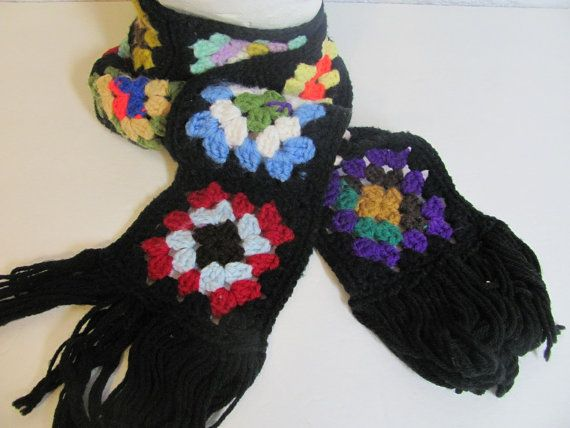 Vintage Granny square afghan scarf // Knit by dirtybirdiesvintage, $16.00