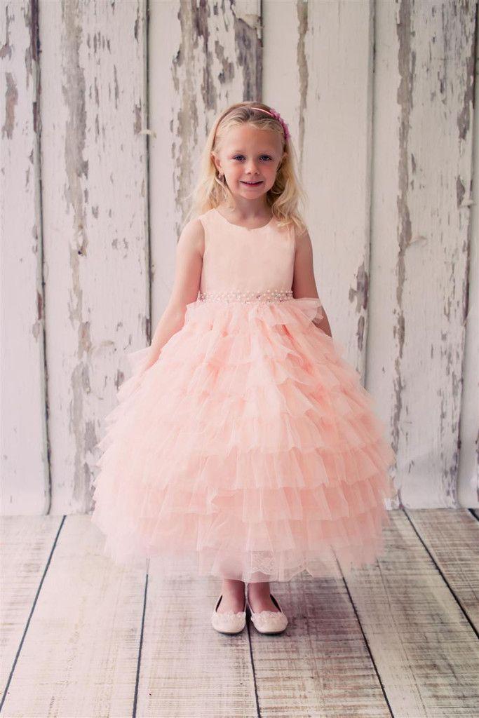 Girls Mesh Layered Princess Dress Choose Peach Or Pink