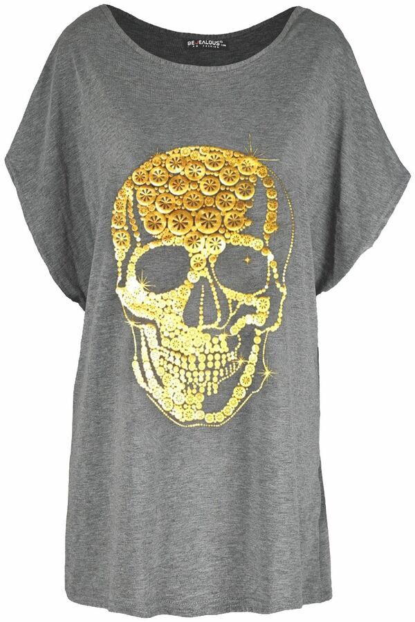 Womens Halloween Oversized Scary Skull Face Loose Fit Short Sleeve T Shirt Top