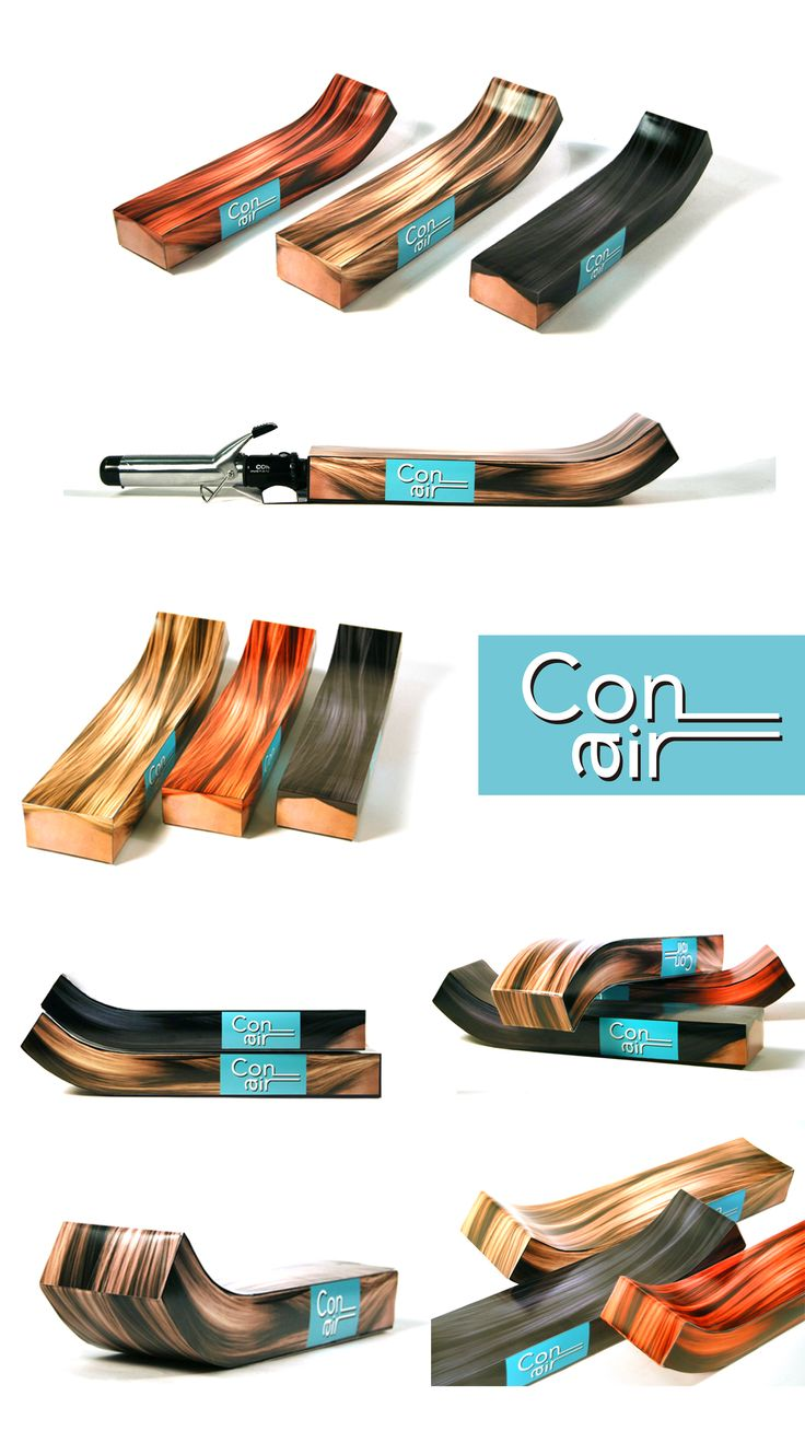 It was my rebranding assignment in my college. I've decided conair brand as my assignment. And I made this for curling tongs packaging seem like 'waving hair'.