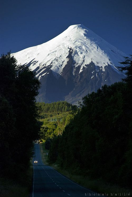 Osorno volcano, Chile. I have been there is amanzingly beutiful. Eternal snow on the cone.