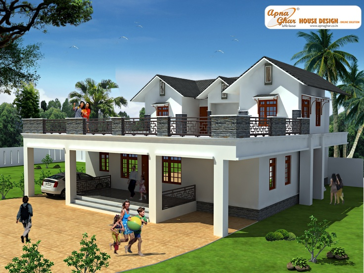 This is a beautiful three bedrooms duplex house design