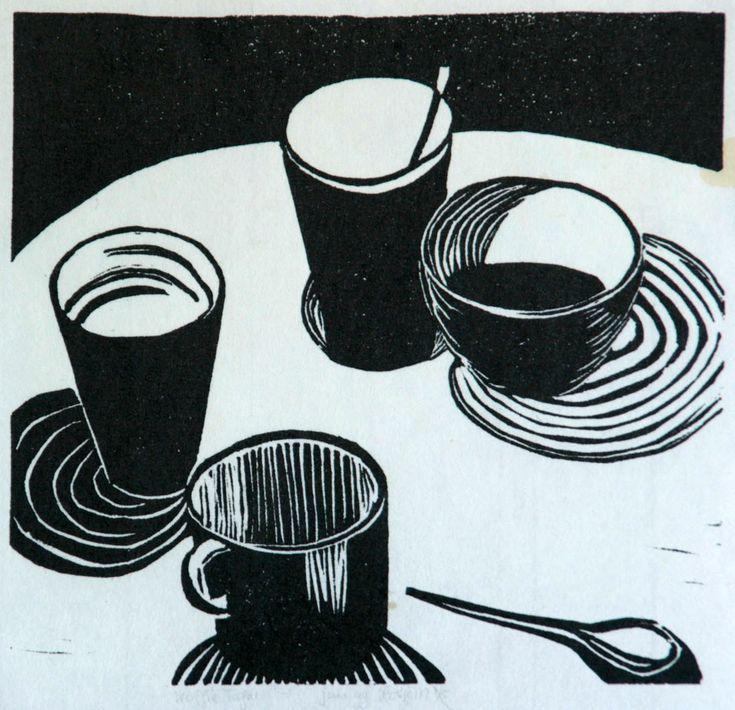 lino cut print 19 x 19 cm | koffietafel