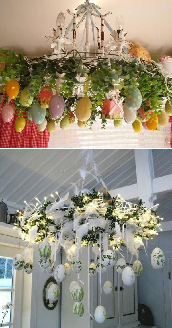Give Your Chandelier an Easter Egg Makeover #eastereggs #eastercrafts #diyeasteridea