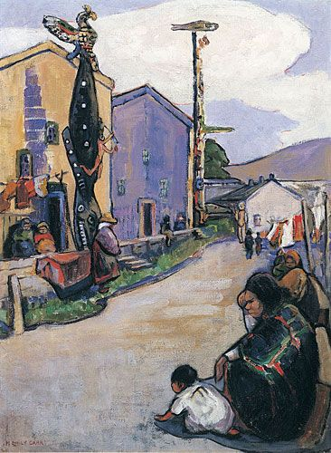 Street Alert Bay, 1912, huile sur toile - Emily Carr (Canadian, 1871-1945)