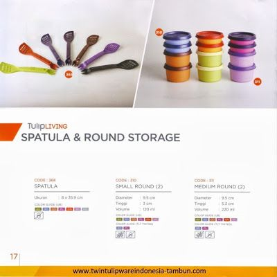 Spatula & Round Storage Twin Tulipware, Small, Medium Round