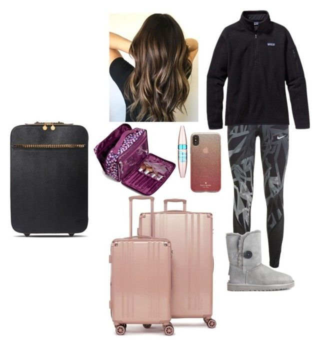 """Skipping school tomorrow flying to Dance comp Thursday night Jan 18"" by soccerstar913 ❤ liked on Polyvore featuring NIKE, Patagonia, UGG Australia, CalPak, Kate Spade, Maybelline, STELLA McCARTNEY and Vera Bradley"