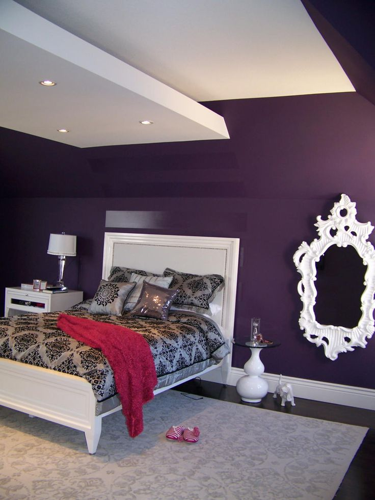 Contemporary Eclectic Bedroom Design Photo by Nina Sobinina Design Album - Deep purple for a teenager, Teenager's bedroom