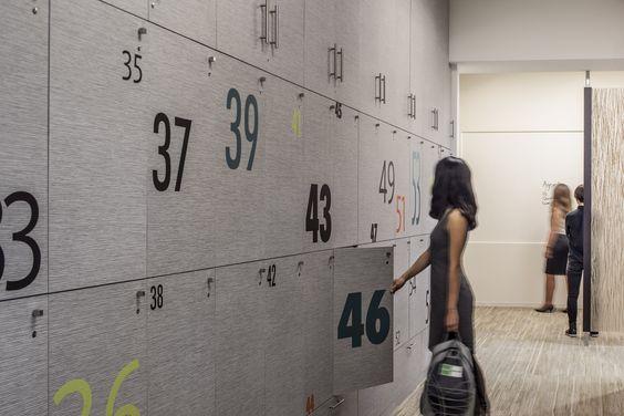 Employee Lockers | Modern Workplace | Goodman Birtcher | Corporate Headquarters | Irvine, California | Interior Design by H.Hendy Associates: