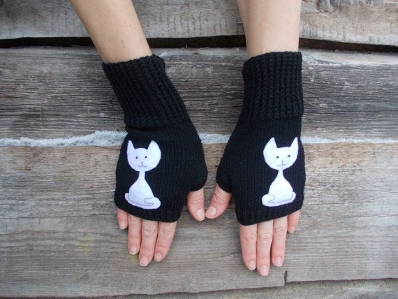 Fingerless Gloves Knitted Mittens Mitts Cute от WarmGiftsForYou