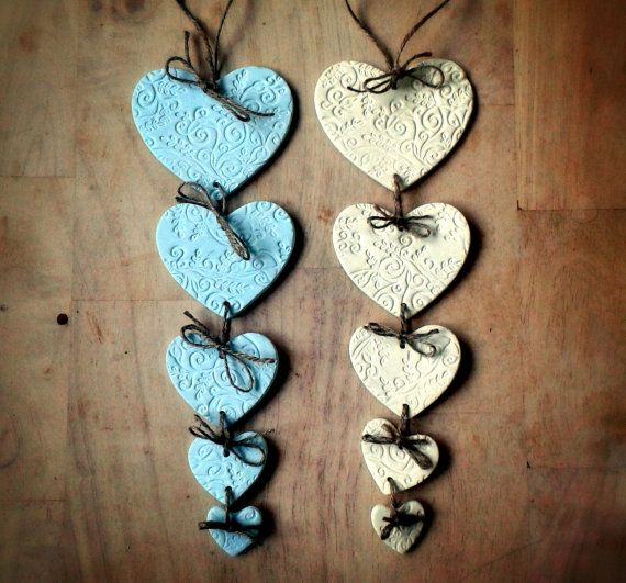 Duck Egg Blue or Cream Heart Shaped Clay Garland with Swirl Pattern