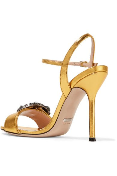 Gucci - Dionysus Metallic Leather Sandals - Gold - IT