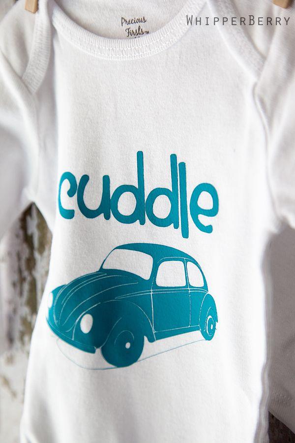 DIY Baby Onesie idea using Heat Transfer and your Silhouette #CuddleBug
