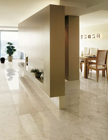 "9.5"" x 19"" Calacatta Gold polished and rectified interior floor tile"