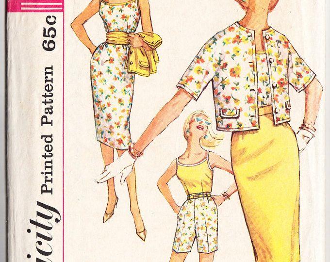Vintage 1959 Simplicity 3478 Sewing Pattern Junior and Misses' Shorts, Blouse, Skirt, Jacket and Cummerbund Size 12 Bust 32