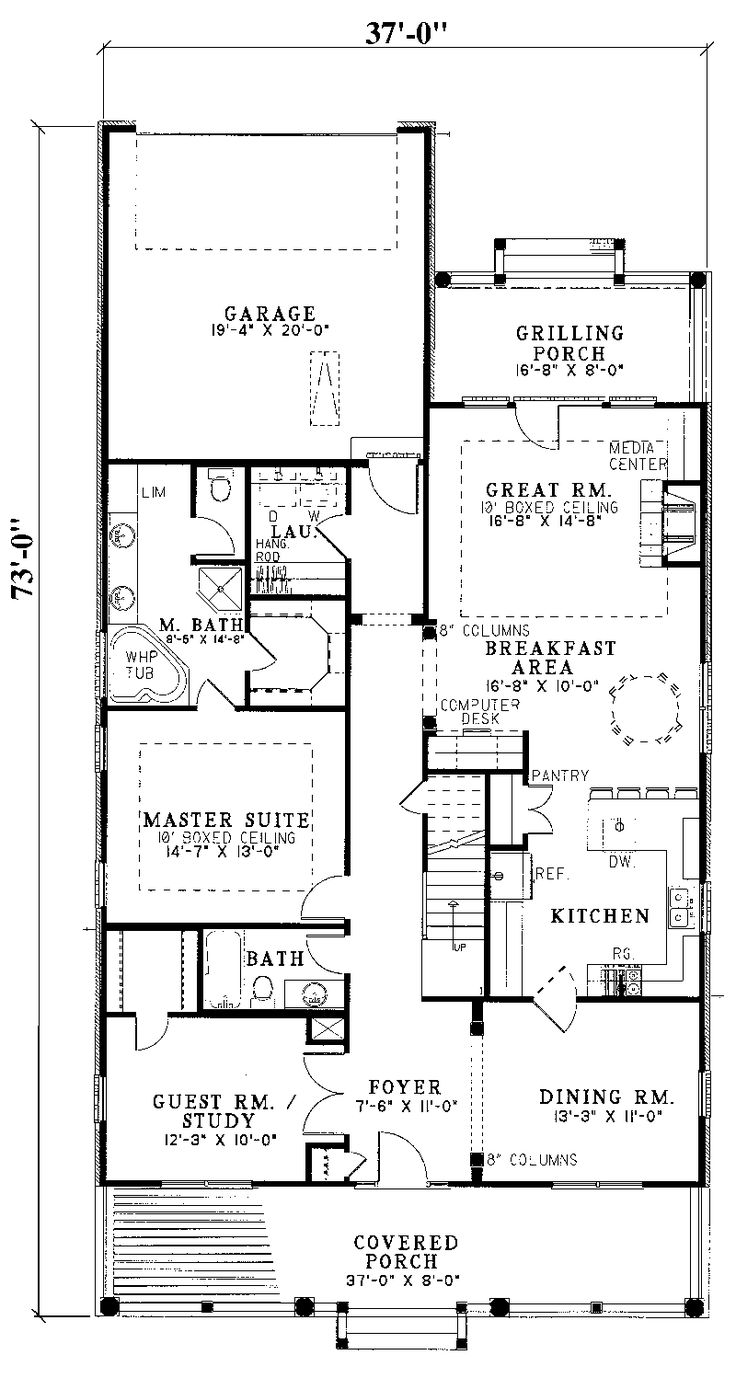 Best 25 narrow lot house plans ideas on pinterest for Narrow lot house plans with rear garage