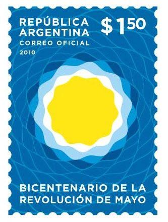 Álbum de Estampillas: Nueva emisión del correo Argentino - Logotipo del Bicentenario