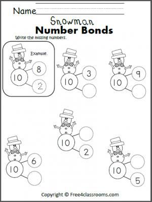 Free Snowman Number Bonds to 10. Winter math activity.