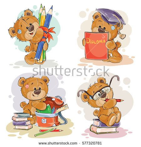 Funny illustrations for greeting cards and childrens books on the topic of school and university education