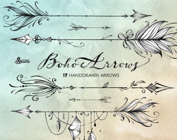 Boho pijlen. 17 de hand getekende illustraties. Tribale, inheemse diy elementen, logo, uitnodiging, potlood, transparante, digitale png, stijl, tatoeage, Romantisch