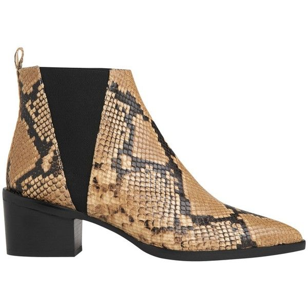 Whistles Belmont Pointed Toe Block Heeled Ankle Boots , Tan Snake found on Polyvore featuring shoes, boots, ankle booties, tan snake, leather booties, block heel boots, flat booties, pointed-toe ankle boots and tan booties