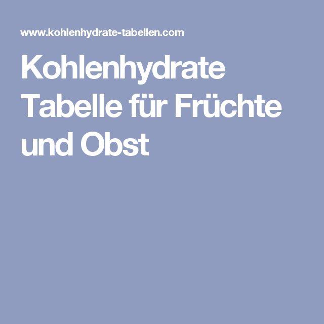 Kohlenhydrate Tabelle für Früchte und Obst