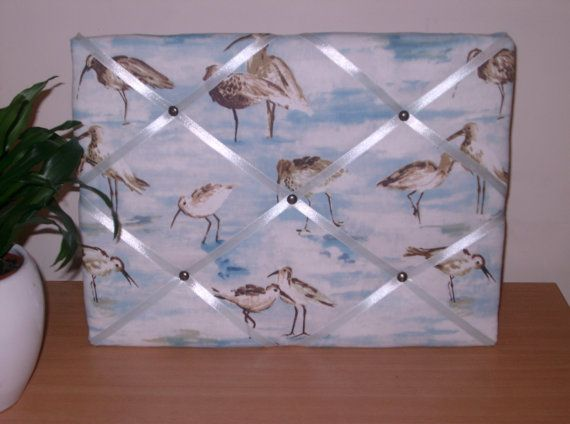 French Memo Board with Sand Piper Bird Print*Notice Board*Pin Board*New Home Gift*Trimmed with Pale Blue Ribbon* Gift for Him or Her*