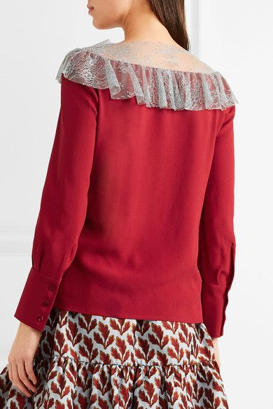 Philosophy di Lorenzo Serafini - Lace-paneled Crepe Top - Red - IT46