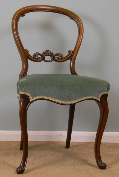 ~ Rosewood Balloon Back Dining Chairs With Carved Center Splat Standing On Cabriole Legs ~ (1870)