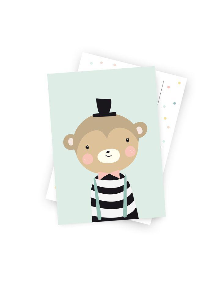 Ansichtkaart aap Ook leuk om ons te lijsten voor de babykamer