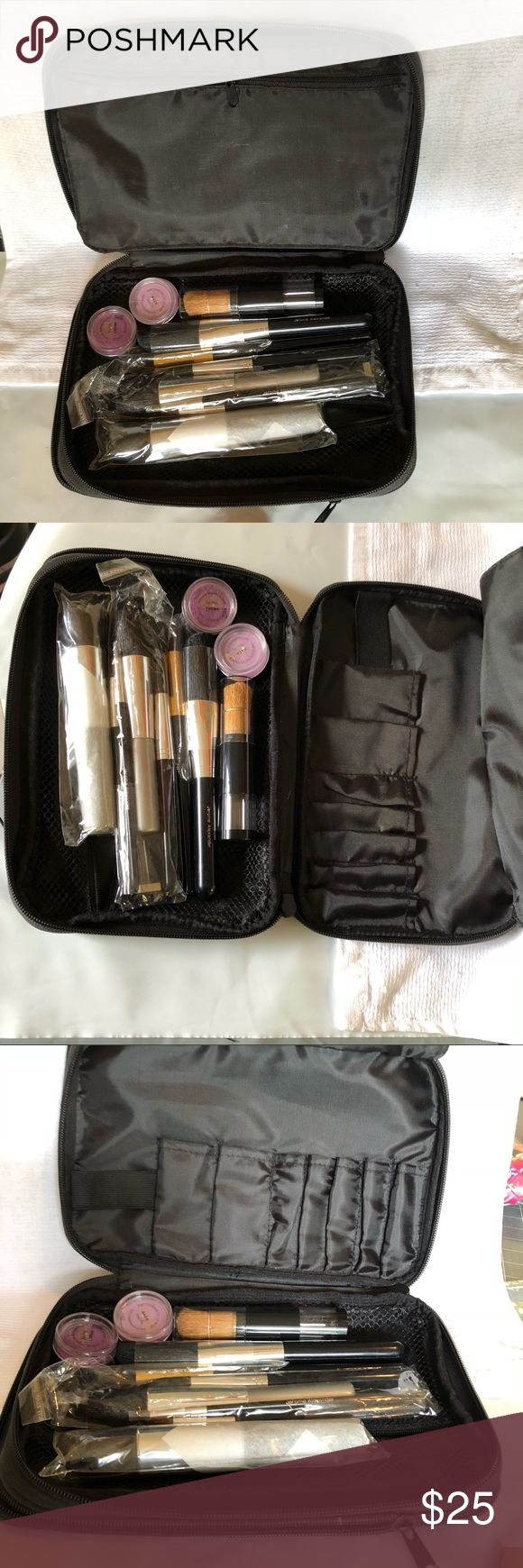 BARE MINERALS BRUSH / EYE SHADOW SET Brand new unused makeup and brushes in an expandable organizer with separate zipper pockets and brush storage Bare Minerals Makeup