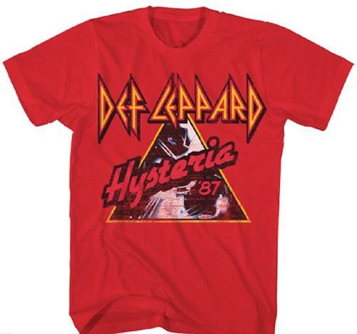 This men's Def Leppard concert tshirt is from the English Pop Metal band's 1987 Hysteria tour to support their mega-successful album by the same name. Featuring Def Leppard Hysteria '87 on the front,
