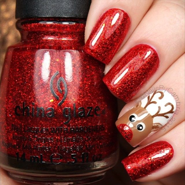 Here's the tutorial for my Rudolph nails! Tag someone who would ❤️ these! Rudolph The Red-Nosed Reindeer - Burl Ives @chinaglazeofficial Ring In The Red and White On White @twinkled_t #00 nail art brush   10% off with my code ❤️CAMBRIA❤️ Dotting tools Brown, red, black, and white acrylic craft paints  @sechenails Seche Vite All polishes except RITR are from @hbbeautybar   15% off with code nailsbycambria  #25daysofchristmasnailsbycambria