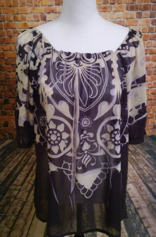 Mushka by Sienna Rose Inc Womens LARGE sheer pullover shirt with a graphic print #MushkabySiennaRose #Blouse #CasualWork