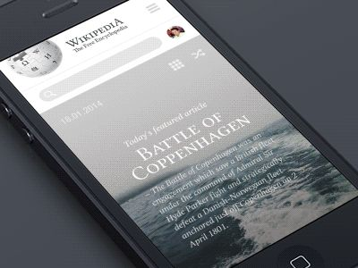 "Hi guys.  I continue to post some work in progress of my own wikipedia redesign project. Press ""L"" if you like it :)  Here is the main page for mobile devices and some interactions to see.  More sc..."