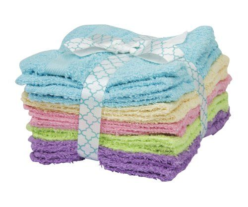 "11 Pack 100% Cotton Ribbon Tied Face Towel Washcloths, 5 Bright Summer Colors. Multicolored. Absorbent, soft 100% cotton. 11 piece set tied with a gift ribbon. 5 bright summer colors! Dimensions: 11"" by 11"". Remain soft after wash and dry. All bright summer colors! Dimensions: width: 6, height: 6. Dimensions: 11"" by 11"". Towels are very and soft and will remain soft after wash and dry. Our washcloths consist of absorbent, soft cotton terry fabric."