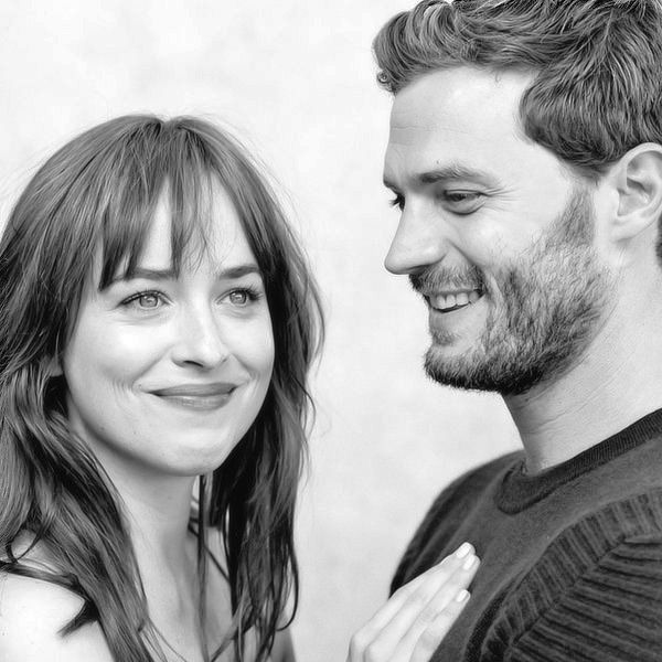 """ New outtake of Dakota Johnson and Jamie Dornan for to Fifty Shades of Grey Promotional Photoshoot [Source: @FiftyShadesEN.] """
