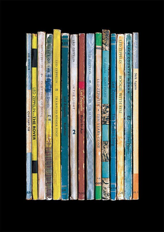 If Robert Plant, Jimmy Page, John Paul Jones & John Bonham had been authors instead of musicians, this poster print shows how their immense 1975 album Physical Graffiti might have turned out - as a collection of novels instead of songs.  The books in the print each represent one of the tracks on the album, and theyre all arranged in the order they appear on the original vinyl release - Custard Pie, The Rover, In My Time of Dying, Houses of the Holy, Trampled Under Foot, Kashmir, In the…