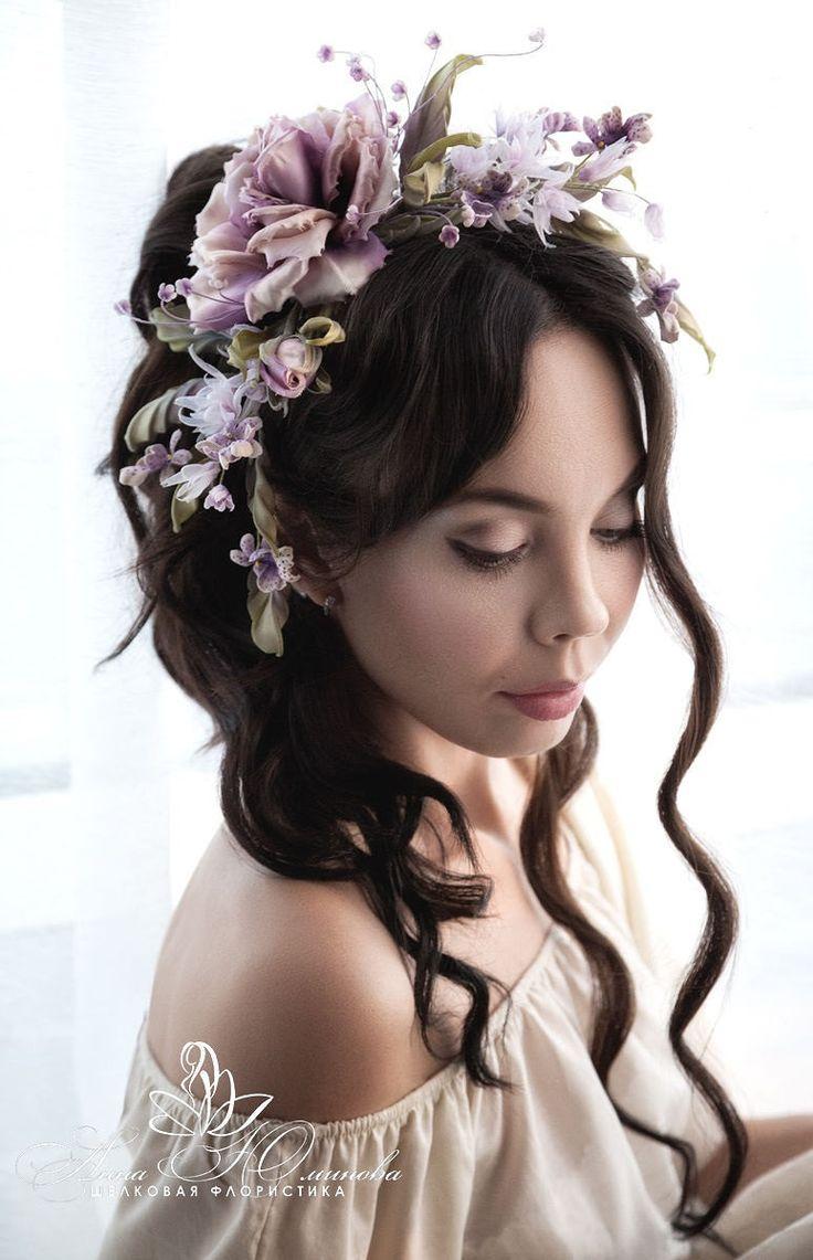 Floral Head Piece Silk Flowers Rose, Statement Flower Headpiece Roses, Floral BridesCrown, Silk Floral Crown Brooch, dress hair accessory by FeltSilkArtGift on Etsy