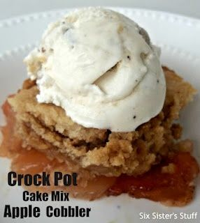 Slow Cooker Cake Mix Apple Cobbler- only a handful ingredients and a couple of minutes are all you need to make this delicious dessert!   #SlowCooker #EasyDessert
