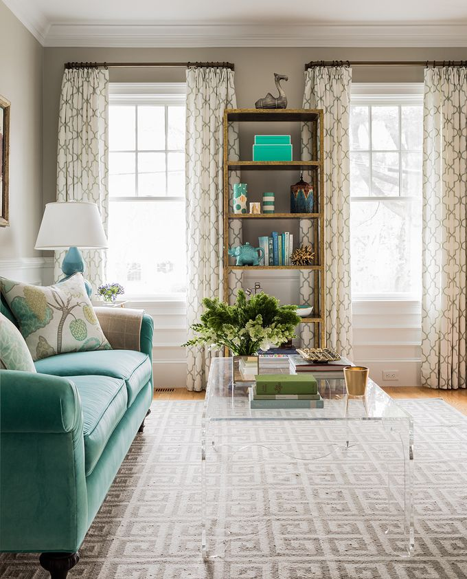 Turquoise and Neutral living room