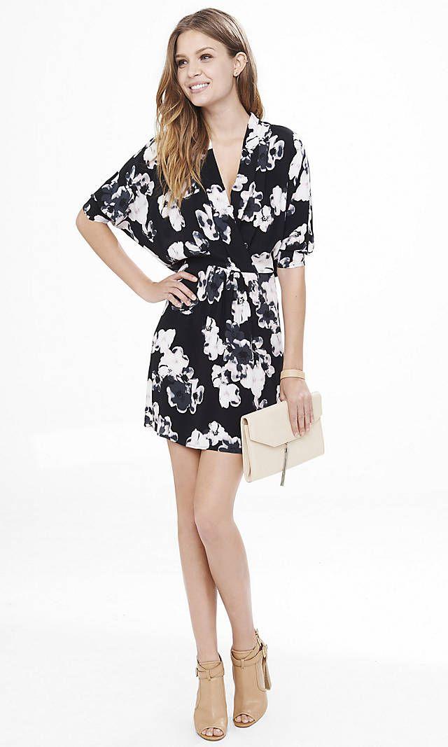 Floral Surplice Dolman Sleeve Dress   Express