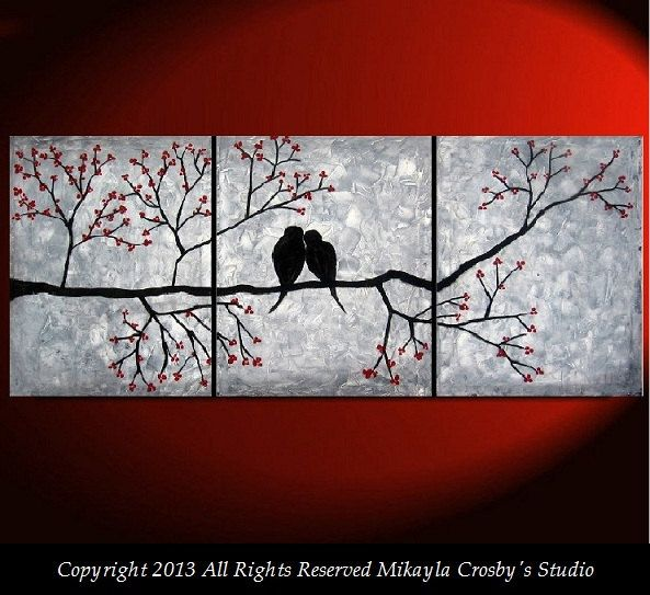 Love Birds HUGE Tree Branch Flowers Blossoms Big Canvas Original Painting Modern Contemporary Abstract Home Decor Triptych Lovebirds