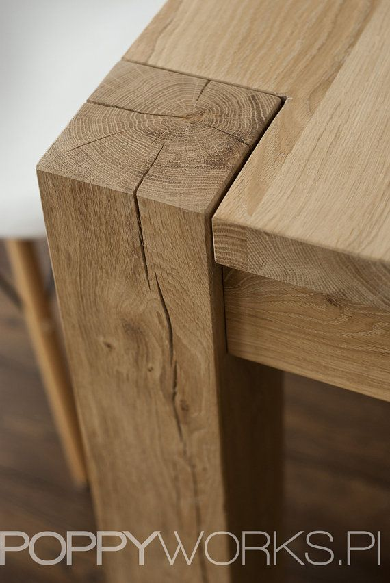 Solid oak dining table. Handmade. Modern design by Poppyworkspl, €890.00...lllloooovvveee