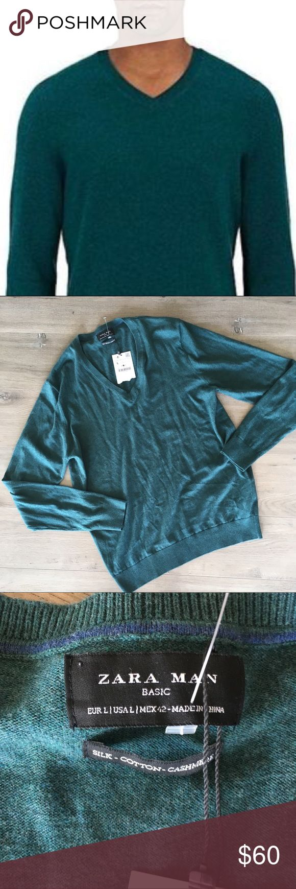 """ZARA MAN ~ teal green silk cashmere vneck sweater ZARA MAN ~  Zara brand  Teal green sweater  Men's cashmere sweater  Long sleeve  Silk cashmere cotton blend fabric  Men's vneck sweater  New with tags attached  Size large  Made in China   Beautiful sweater for all occasions can dress it up or down   Flat measurements: Chest 21"""" Length 27"""" Zara Sweaters V-Neck"""