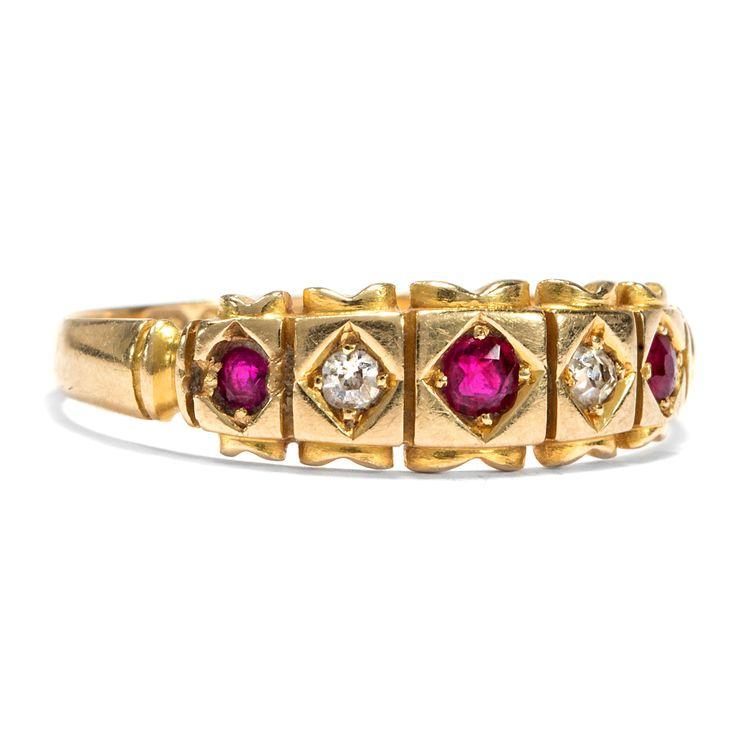 Datiert 1891 - Viktorianischer Gypsy-Ring mit Rubinen & Diamanten in Gelbgold von Hofer Antikschmuck aus Berlin // #hoferantikschmuck #antik #schmuck #antique #jewellery #jewelry