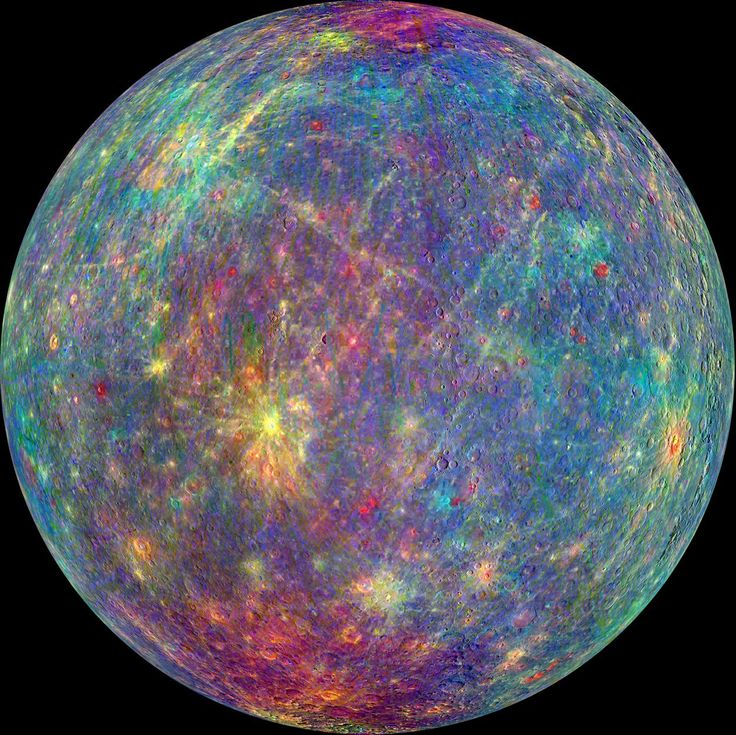 A spectral view of planet Mercury composed from data captured by the Mercury Atmosphere and Surface Composition Spectrometer (MASCS) instrument aboard NASA's MESSENGER spacecraft. (NASA)